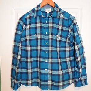 St Johns Bay blue plaid top. Petite medium